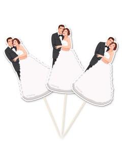 Hochzeit Party-Picker Brautpaar Tisch-Deko 10 Stück schwarz-weiss 9,4cm