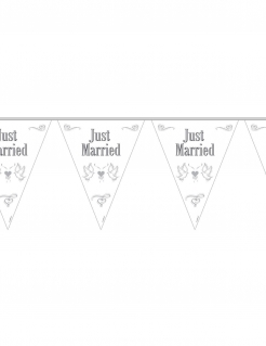 Hochzeit Wimpel-Girlande Just Married Party-Deko weiss-grau 10mx29cm