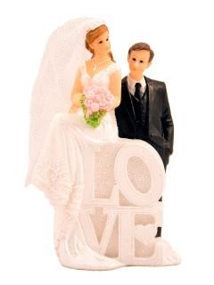 Hochzeit Deko-Figur Love Tischdeko weiss-schwarz 5x8x14cm