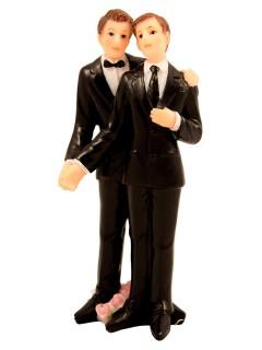 Hochzeit Deko-Figur Brautpaar Männer Tischdeko schwarz-weiss 4,5x11cm