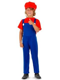 Videospiel Klempner Kinderkostüm blau-rot
