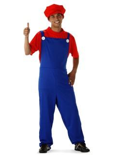 Retro Videospiel Klempner Kostüm Latzhose blau-rot