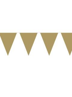 Wimpel-Kette Girlande Party-Deko gold 10mx31x22cm