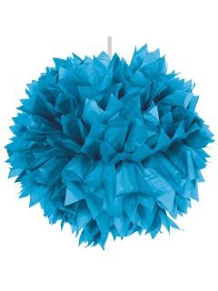Waben-Ball Pompom Party-Deko azurblau 30cm