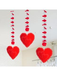 Hochzeit Hänge-Spiralen mit Herzen Valentinstag Party-Deko 3 Stück rot 75x18cm