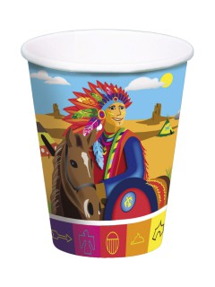 Indianer Pappbecher Wilder Westen Kinderparty 8 Stück bunt 250ml