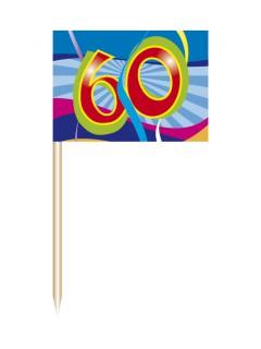 60. Geburtstag Party-Picker Partydeko 50 Stück bunt 6,5cm