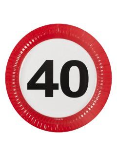40. Geburtstag Pappteller Party-Deko 8 Stück bunt 23cm