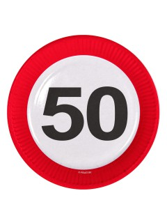 50. Geburtstag Pappteller Party-Deko 8 Stück bunt 23cm