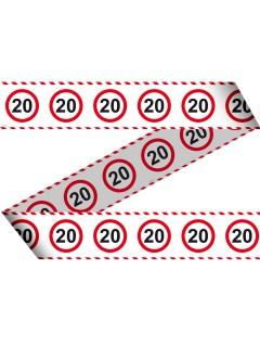 20. Geburtstag Absperrband Party-Deko weiss-rot-schwarz 15mx7,5cm