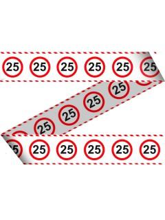 25. Geburtstag Absperrband Party-Deko weiss-rot-schwarz 15mx7,5cm