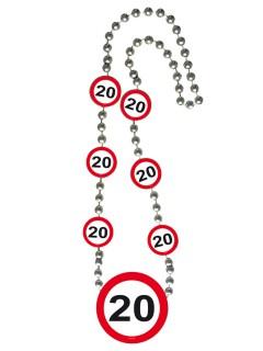 20. Geburtstag Halskette Jubiläum weiss-rot 70cm
