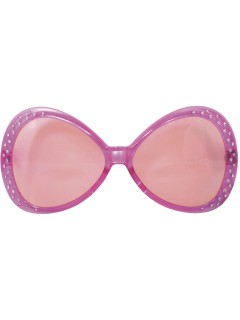 Disco Retro Funbrille mit Schmucksteinen rosa