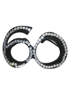 60. Geburtstag Party-Brille mit Schmucksteinen schwarz-silber 15x13x2cm
