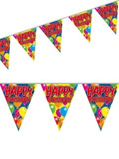 Happy Birthday Wimpel-Girlande Geburtstag Party-Deko bunt 10m