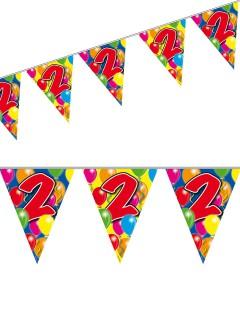 2. Geburtstag Wimpel-Girlande Party-Deko bunt 10m