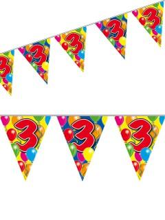 3. Geburtstag Wimpel-Girlande Party-Deko bunt 10m