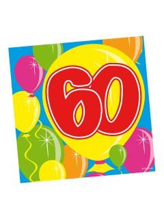60. Geburtstag Servietten Party-Deko 20 Stück bunt 25x25cm