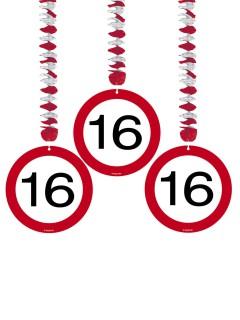16. Geburtstag Hänge-Spiralen Party-Deko 3 Stück rot-weiss 22x22x1cm