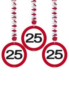 25. Geburtstag Hänge-Spiralen Party-Deko 3 Stück rot-weiss 75cm