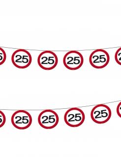 25. Geburtstag Schilder-Girlande Party-Deko rot-weiss 12mx20cm
