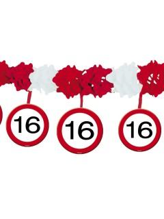 16. Geburtstag Schilder-Girlande Party-Deko rot-weiss 4mx35cm