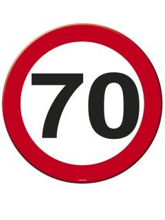 70. Geburtstag Platzdecken und Untersetzer 4 Stück rot-weiss-schwarz