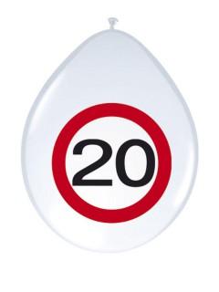 20. Geburtstag Luftballons Party-Deko 8 Stück weiss-rot 30cm