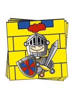 Kleiner Ritter Servietten Kinderparty 20 Stück bunt 33x33cm