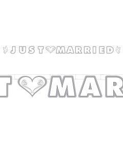 Hochzeit Girlande Tauben Just Married Party-Deko weiss 180x12cm