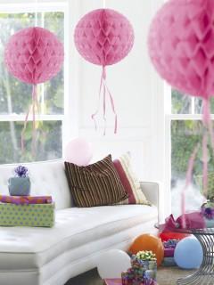 Waben-Ball mit Fransen Party-Deko rosa 30cm