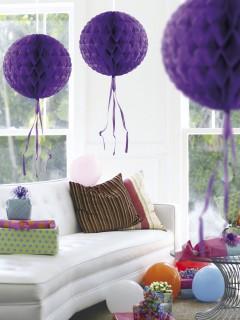 Waben-Ball mit Fransen Party-Deko lila 30cm