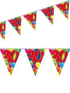 Wimpelkette 30. Geburtstag Party-Deko Girlande bunt 10mx29cm