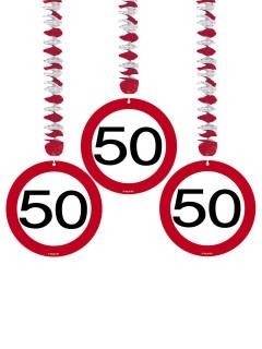 Spiralen 50. Geburtstag Party-Deko 3 Stück rot-schwarz-weiss 76x18cm