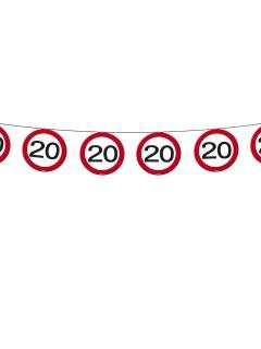 Wimpelkette 20. Geburtstag Party-Deko Girlande schwarz-rot-weiss 600x20cm