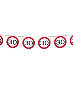 Wimpelkette 30. Geburtstag Party-Deko Girlande schwarz-rot-weiss 600x20cm