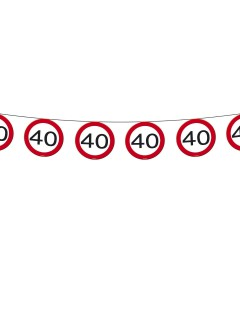 Wimpelkette 40. Geburtstag Party-Deko Girlande schwarz-rot-weiss 600x20cm