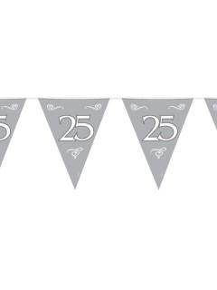 Wimpelkette 25 Silberne Hochzeit Party-Deko Girlande silber-weiss 6mx30cm