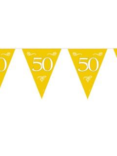 Wimpelkette 50 Goldene Hochzeit Party-Deko Girlande gold-weiss 6mx28cm