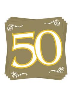 Goldene Hochzeit Servietten 50 Party-Deko 20 Stück gold-weiss-gelb 33x33cm