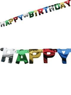 Girlande Happy Birthday Geburtstag Party-Deko bunt 140x10cm