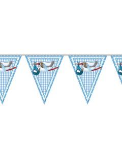 Wimpelkette Storch Geburt Party-Deko für Jungen hellblau-weiss 600 x 27 cm