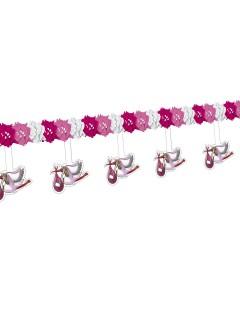 Girlande Storch Geburt Party-Deko für Mädchen rosa-weiss 400 x 27 cm