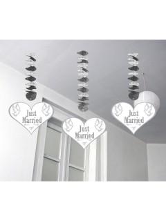Spiralen Just Married Hochzeit Party-Deko 3 Stück silber-weiss-grau 60x17,5cm