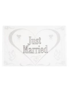 Fahne Just Married Hochzeit Party-Deko silber-weiss 1,5x1m