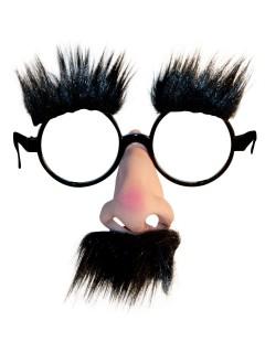Scherz-Brille Schnellmaskierung Set schwarz-hautfarben