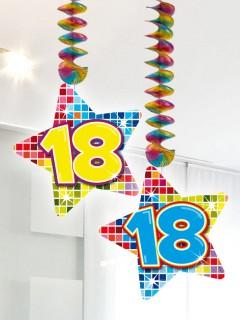 Spiralen 18. Geburtstag Sterne Party-Deko 2 Stück bunt 75x17cm