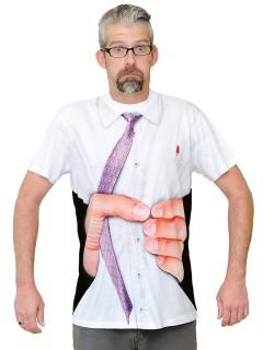 Funshirt Gequetschter Körper T-Shirt fotorealistisch weiss-schwarz-beige