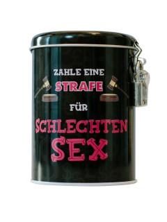 Straf-Spardose Schlechter Sex mit Schloss bunt 7x7x11cm