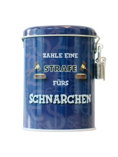 Bestrafungs-Spardose für Schnarcher mit Schloss bunt 7,5x7,5x11cm